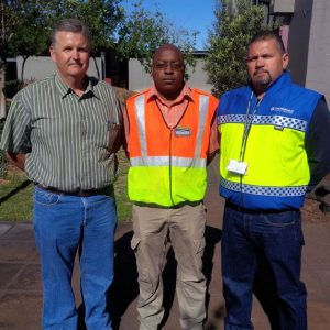 Andy Sebetseba (middle) flanked by Regional Manager Northern Cape Wilhelm Pieterse (left) and Security Manager UMK Quinton Williams (right)