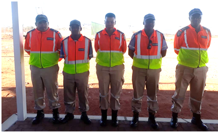 Officers on parade at Ilanga Solar in the Northern Cape