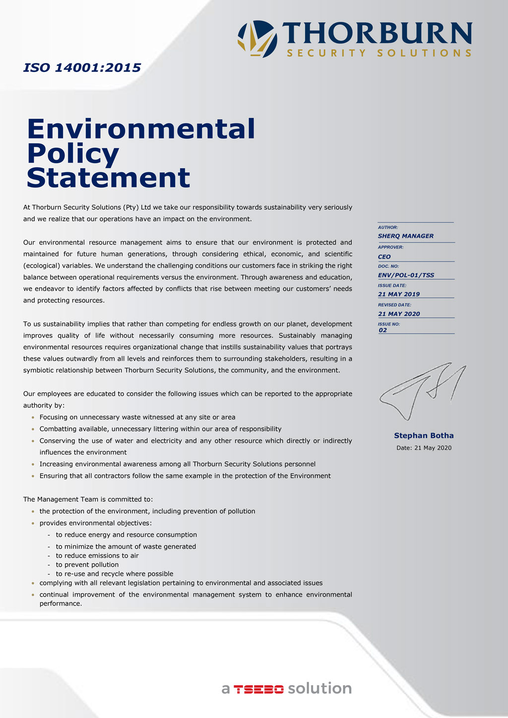 Thorburn Security Services South Africa - Our Values - Environmental Policy Statement