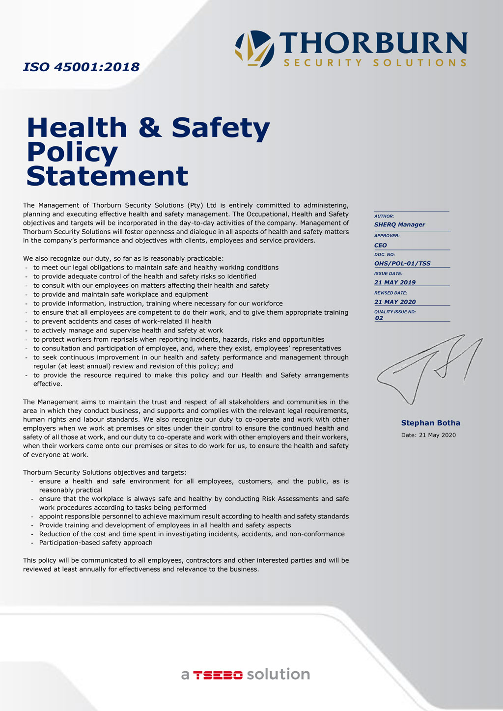 Thorburn Security Services South Africa - Our Values - Health & Safety Policy Statement