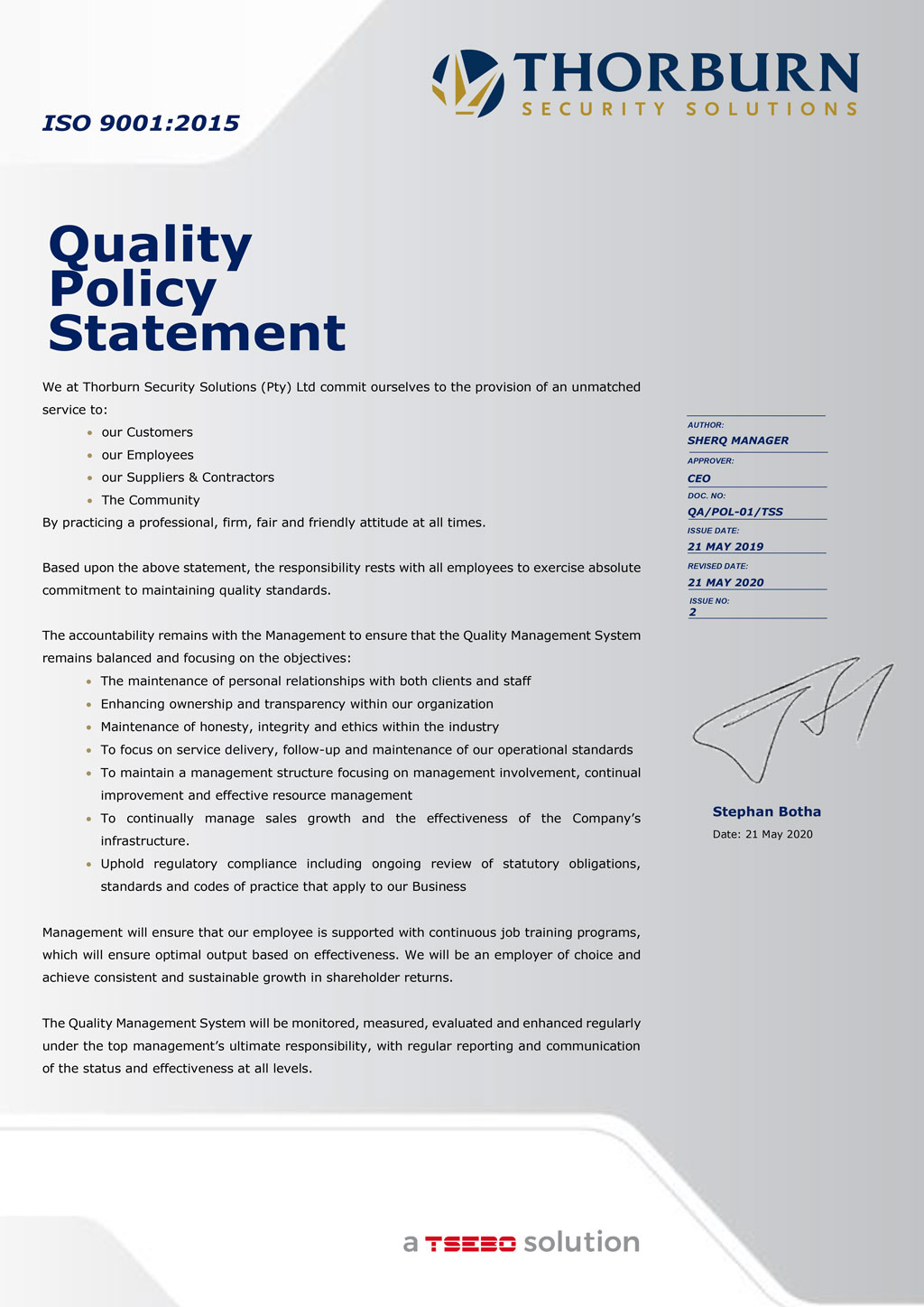 Thorburn Security Services South Africa - Our Values - Quality Policy Statement