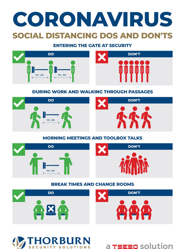 Thorburn Security Services South Africa - Our Values - Social distancing dos and don'ts