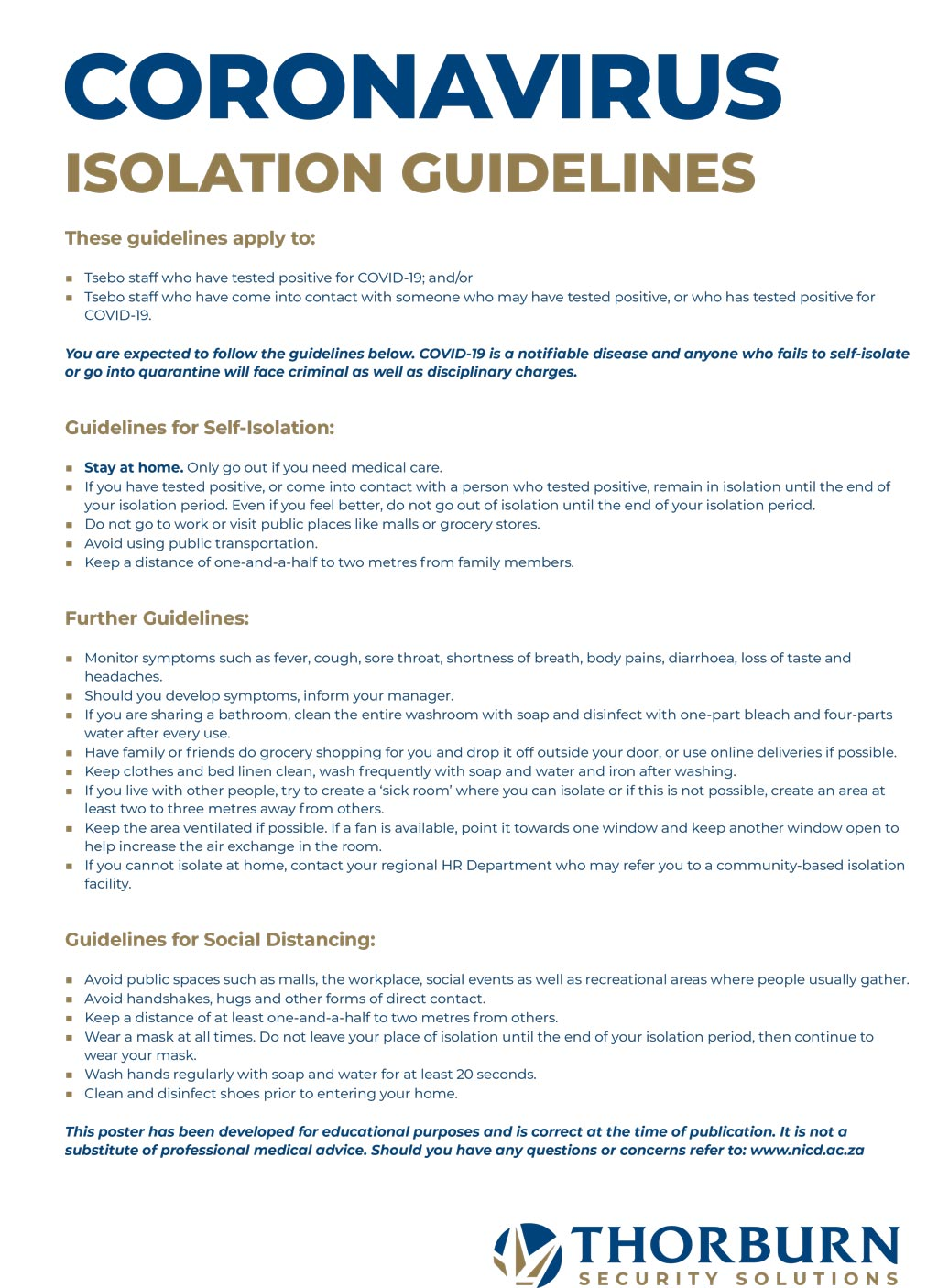 Thorburn Security Services South Africa - Our Values - Isolation Guidelines