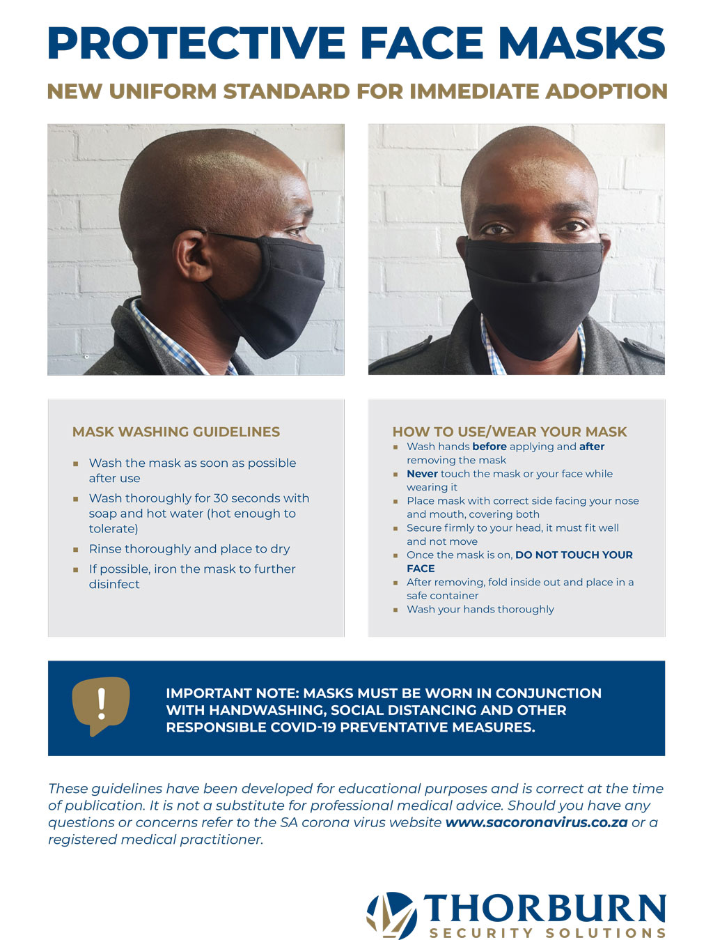 Thorburn Security Services South Africa - Our Values - Mask Protocol