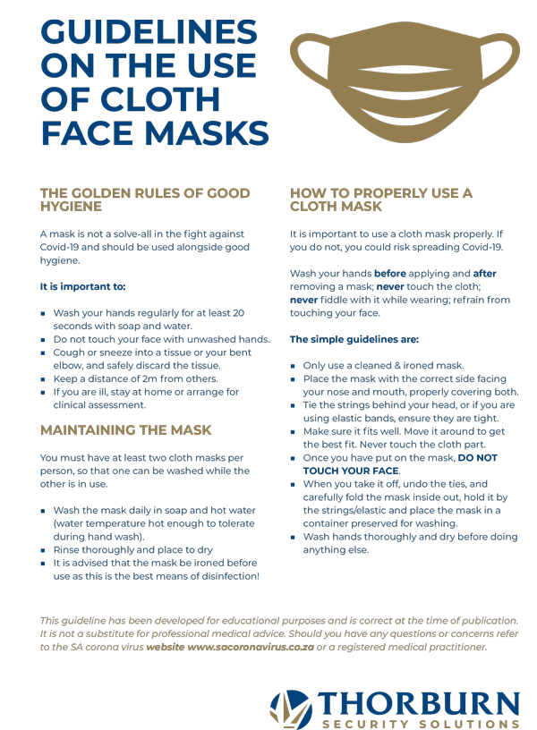 Thorburn Security Services South Africa - Our Values - Mask Hygiene Rules